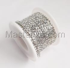 Стразовая цепь SS8 (2,3-2,5 мм).Цвет №7 crystal.Оправа серебро,1 м
