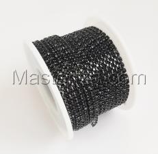 Стразовая цепь SS8 (2,3-2,5 мм).Цвет №9 чёрный.Оправа никель чёрный,1 м