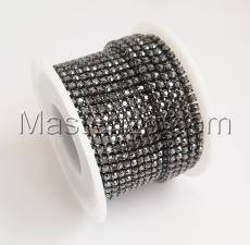 Стразовая цепь SS8 (2,3-2,5 мм).Цвет №10 антрацит.Оправа никель чёрный,1 м