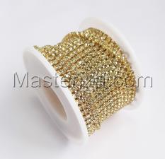 Стразовая цепь SS8 (2,3-2,5 мм).Цвет №13 crystalА.Оправа золото,1 м