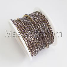 Стразовая цепь SS8 (2,3-2,5 мм).Цвет №16 фиолетовый.Оправа золото,1 м