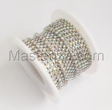 Стразовая цепь SS6 (1,9-2,0 мм).Цвет №21 crystal A.Оправа серебро,1 м