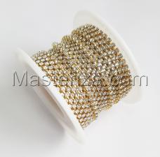 Стразовая цепь SS6 (1,9-2,0 мм).Цвет №23 crystal.Оправа золото,1 м