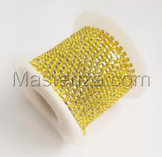 Стразовая цепь SS6 (1,9-2,0 мм).Цвет №24 жёлтый.Оправа серебро,1 м