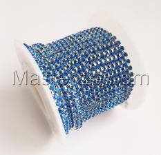 Стразовая цепь SS6 (1,9-2,0 мм).Цвет №27 синий.Оправа серебро,1 м