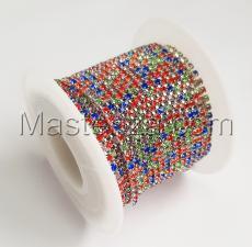 Стразовая цепь SS6 (1,9-2,0 мм).Цвет №28 разноцветный.Оправа серебро,1 м