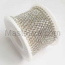 Стразовая цепь SS8 (2,3-2,5 мм).Цвет №29 crystal.Оправа серебро,1 м