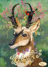 Тэла Артис | Козлик в цветах. Размер - 24 х 33 см