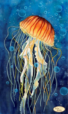 Тэла Артис | Медуза в пузырьках. Размер - 24 х 40 см