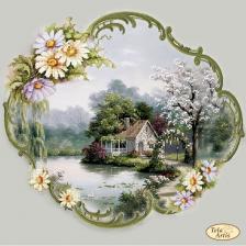 Тэла Артис | Домик в цветочной раме. Размер - 30 х 30 см
