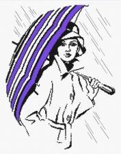Овен | Девушка с зонтиком. Размер - 23 х 30 см
