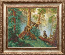 Русская искусница | Мишки в сосновом лесу (по мотивам картины И.И.Шишкина). Размер - 36 х 28 см