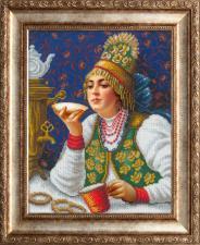 Русская искусница | Русская красавица за чаем (по мотивам картины К.Е.Маковского). Размер - 28 х 36 см