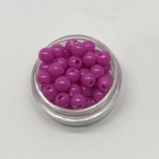 Бусины пластиковые круглые,цвет 03 (фуксия),6 мм,уп.80 шт