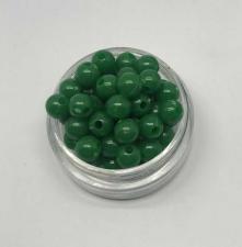 Бусины пластиковые круглые,цвет 12 (тёмно-зелёный),6 мм,уп.80 шт