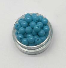 Бусины пластиковые круглые,цвет 14 (бирюзовый),6 мм,уп.80 шт