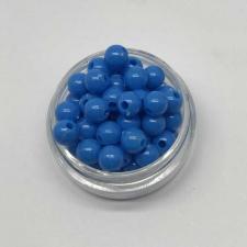 Бусины пластиковые круглые,цвет 15 (синий),6 мм,уп.80 шт