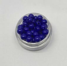 Бусины пластиковые круглые,цвет 16 (василёк),6 мм,уп.80 шт