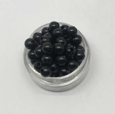 Бусины пластиковые круглые,цвет 18 (чёрный),6 мм,уп.80 шт