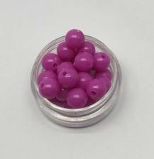 Бусины пластиковые круглые,цвет 03 (фуксия),8 мм,уп.80 шт