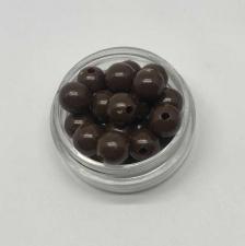Бусины пластиковые круглые,цвет 17 (коричневый),8 мм,уп.80 шт