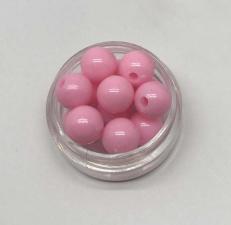 Бусины пластиковые круглые,цвет 02 (розовый),10 мм,уп.40 шт