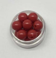 Бусины пластиковые круглые,цвет 04 (красный),10 мм,уп.40 шт