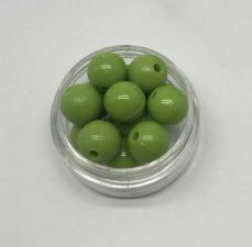 Бусины пластиковые круглые,цвет 11 (оливковый),10 мм,уп.40 шт