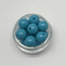 Бусины пластиковые круглые,цвет 14 (бирюзовый),10 мм,уп.40 шт