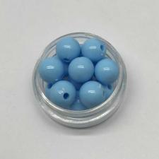 Бусины пластиковые круглые,цвет 19 (голубой),10 мм,уп.40 шт