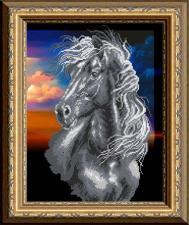 Арт Соло | Чёрный конь. Размер - 28 х 38 см