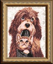 Арт Соло | Собака с котёнком. Размер - 28 х 38 см