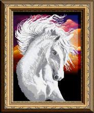 Арт Соло | Белая лошадь. Размер - 28 х 38 см