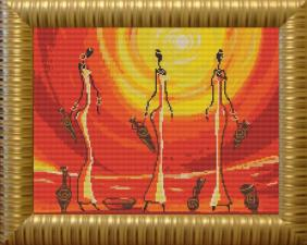 "Конёк | Рисунок на ткани ""Африканки"" (полная зашивка). Размер - 39 х 29 см"