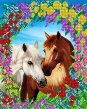 Пара лошадей. Размер - 26 х 32 см.