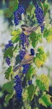 Астрея Арт | Птицы на синем винограде. Размер - 30 х 60 см