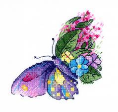 """ТМ Жар-птица Набор для вышивания на одежде """"Цветочный полёт"""". Размер - 10 х 10 см"""