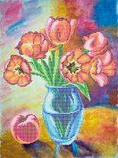 "ТМАнгелика | Схема без бисера ""Тюльпаны и персик"". Размер - 30 х 40 см"