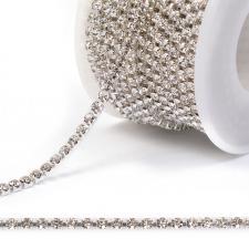 Стразовая цепь SS12 (3,0 мм).Цвет №01 crystal.Оправа серебро,1 м