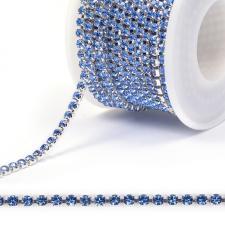 Стразовая цепь SS12 (3,0 мм).Цвет №07 синий.Оправа серебро,1 м
