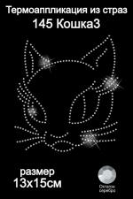 Термоаппликация из страз арт.ТЕР.145 Кошка3 13х15см стекло цв.октагон серебро