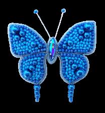 А-строчка | Набор для вышивания броши (подвеса) Бабочка (голубая). Размер - 6,2 х 4 см