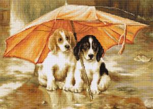 """Набор для вышивания крестом Luca-S """"Двое под зонтом"""". Размер - 30,5 х 22,5 см"""