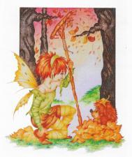 Схема для вышивки Heaven and Earth Designs HAEKAM 106 Autumn Fairies
