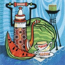Риолис | Сочный арбуз. Гладь. Размер - 20 х 20 см