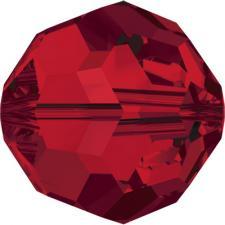 """Бусина стеклянная гранёная """"Сваровски"""" 5000 кристалл красный (light siam 227), 6 мм"""