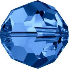 """Бусина стеклянная гранёная """"Сваровски"""" 5000 кристалл тёмно-голубой (capri blue 243), 6 мм"""