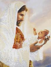 Картины бисером | Иисус с младенцем. Размер - 24 х 31,5 см