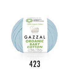 Пряжа Organic baby cotton (100% органический хлопок, 50 гр/115 м),423 голубой