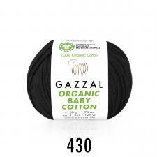 Пряжа Organic baby cotton (100% органический хлопок, 50 гр/115 м),430 чёрный